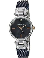 Anne Klein Womens AK/3003BLRT Diamond-Accented Silver-Tone and Blue Mesh Bracelet Watch