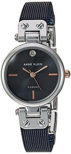 - Anne Klein Women's Diamond-Accented Silver-Tone and Blue Mesh Bracelet Watch
