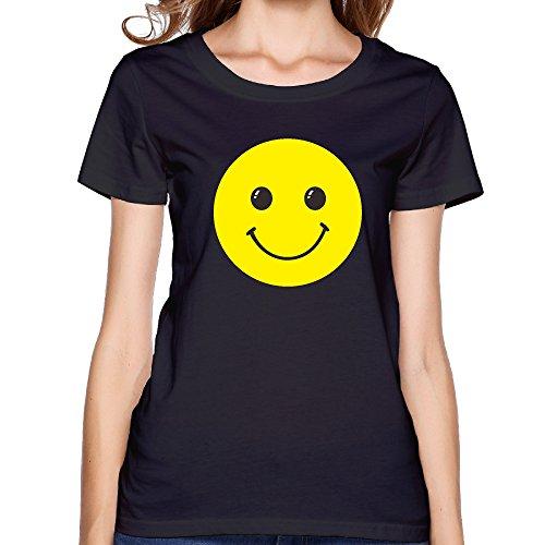 GGifKCU Smiling Face T-Shirts For Womens XXL Black by GGifKCU