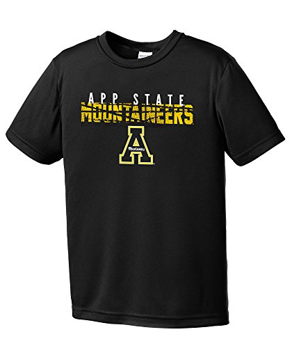NCAA Appalachian State Mountaineers Youth Boys Destroyed Short sleeve Polyester Competitor T-Shirt, Youth (Appalachian State Mountaineers Golf)