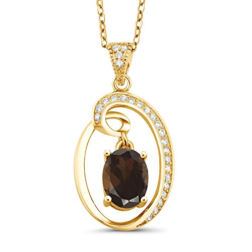 - Gem Stone King 1.50 Ct Oval Dangling Brown Smoky Quartz 18K Yellow Gold Plated Silver Pendant