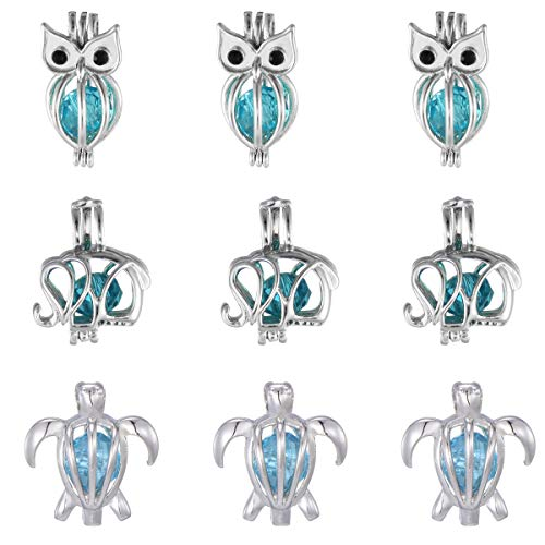 9 Pcs Lucky Owl Elephant Turtle Pearl Bead Cages Pendant Bulk -Aromatherapy Charms for Bracelet Necklace Jewelry Making Kids Summer Gift ()