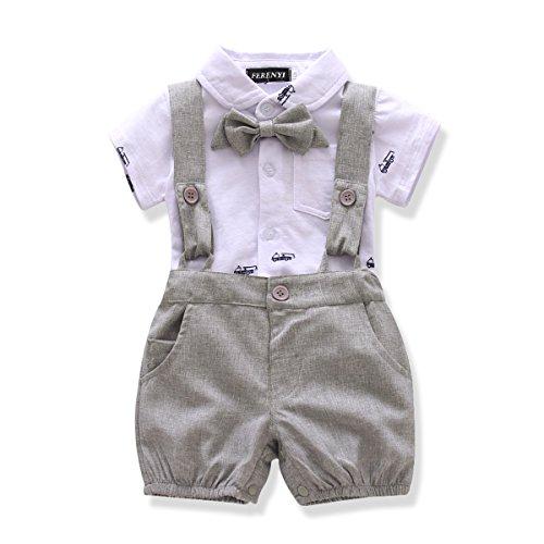 FERENYI US Baby Boys Bowtie Gentleman Romper Jumpsuit Overalls Rompers (13-18 Months, Gray 3)