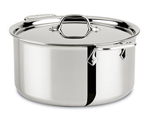 All-Clad 4508 Stainless Steel Tri-Ply Bonded Dishwasher Safe Stockpot with Lid / Cookware, - Dishwasher Pot Stock Safe