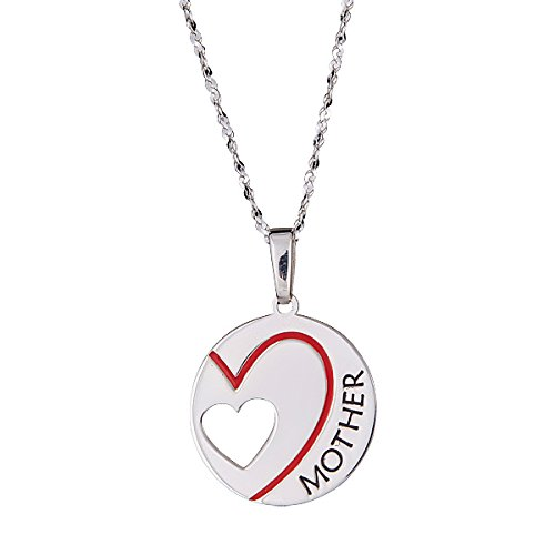 Mothers day gift for MOM Pendant and chain with the word MOTHER and a red heart 18 long