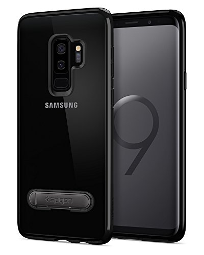 Spigen Ultra Hybrid S Galaxy S9 Plus Case with Slim Clear Protection Air Cushion Technology and Magnetic Metal Kickstand for Samsung Galaxy S9 Plus (2018) - Midnight Black