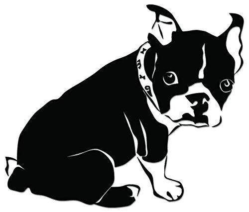 (Cute Boston Terrier Dog Vinyl Decal Sticker For Vehicle Car Truck Window Bumper Wall Decor - [6 inch/15 cm Wide] - Gloss BLACK Color)
