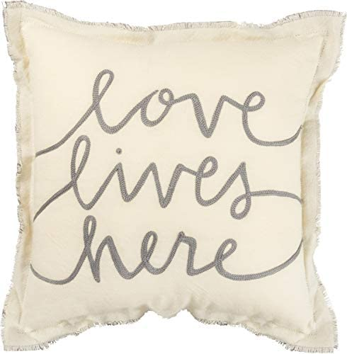 Primitives by Kathy Embroidered Frayed Edge Throw Pillow, 12 x 12-Inches, Love Lives Here