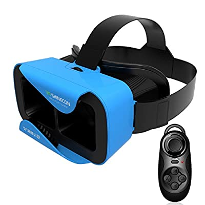 VR SHINECON 3.0 XiaoCang 3D Virtual Reality Glasses Helmet with Bluetooth Remote Control - Blue