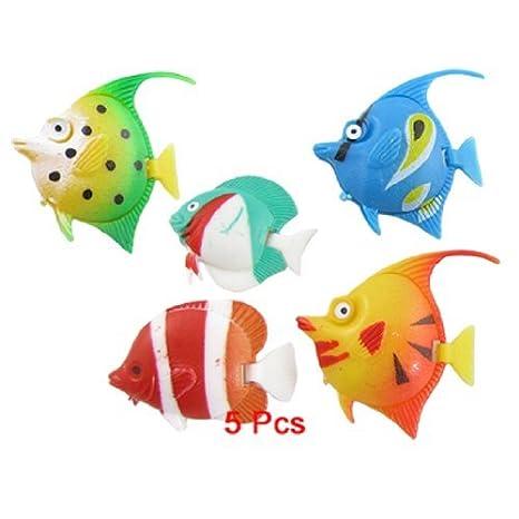 Multicolor jardin acuario de plástico peces que nadan Decoración, de 5 piezas: Amazon.es: Productos para mascotas