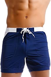 Men Swimwear Swimsuits Solid Basic Long Swim Boxer Trunks Board Shorts  sc 1 st  Amazon.com & Menu0027s Swim Briefs | Amazon.com