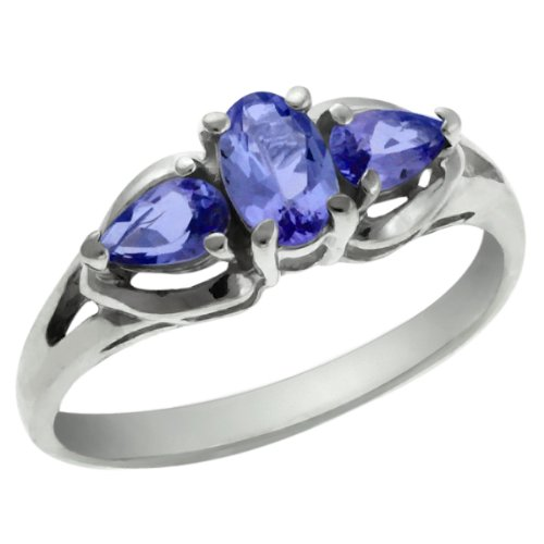 0.85 Ct 3-Stone Oval and Pear Shape Genuine Tanzanite 925 Sterling Silver Ring