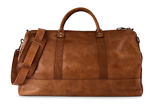 Vintage Full Grain Leather Duffle Bag & Weekend Carryall by Jackson Wayne (Saddle Tan) by Jackson Wayne