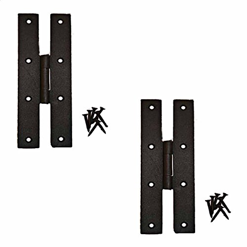 Renovator's Supply Wrought Iron Door H Hinges Flush Mounted Black Antique Rustic Colonial Design 7