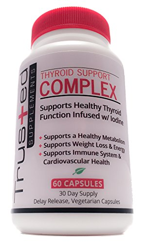 Trusted Supplements Thyroid Support, Improves Energy, Metabolism, Concentration with a Complex Blend of B12, Iodine, Magnesium, Zinc, Selenium, Kelp and Copper, 60 Caps