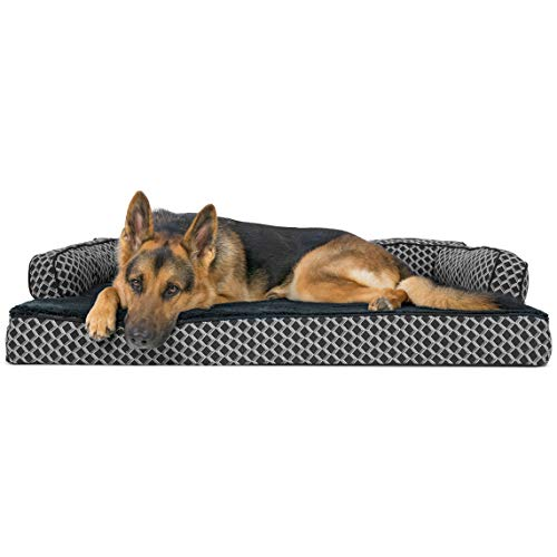 FurHaven Pet Dog Bed | Orthopedic Plush & Décor Comfy Couch Sofa-Style Pet Bed for Dogs & Cats, Diamond Gray, Jumbo