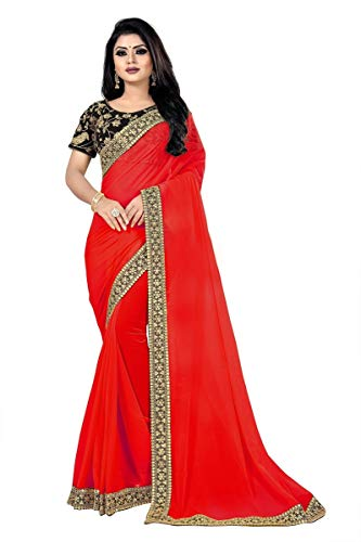 (Minpoz New Hottest Red Georgette Sequence and Thread Work Saree Party wear Sarees for Women (Red))