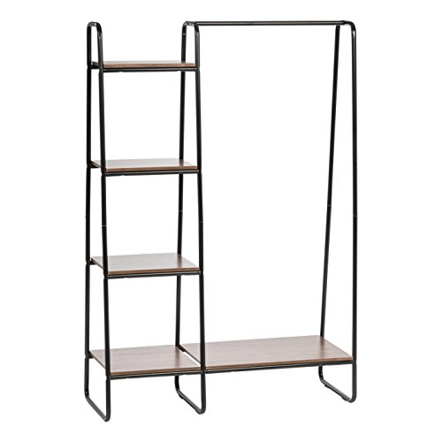 Boutique Armoire - IRIS Metal Garment Rack with Wood Shelves, Black and Dark Brown