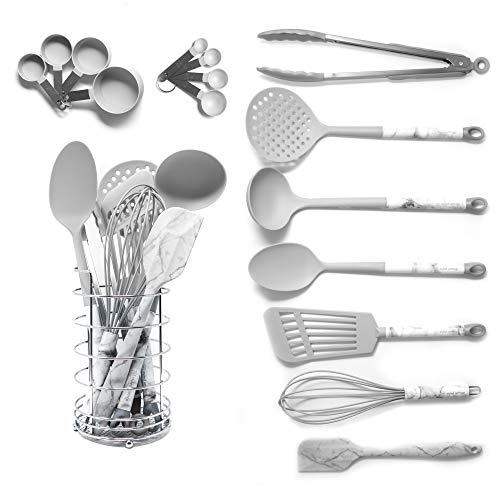 Grey Cooking Utensils With a Modern Look of Marble Utensil Holder Included - Marble Kitchen Accessories. 16-Piece Nylon Cooking Utensils Set with Holder incl. Grey Measuring Spoons and Cups Set (Grey Serving Set)