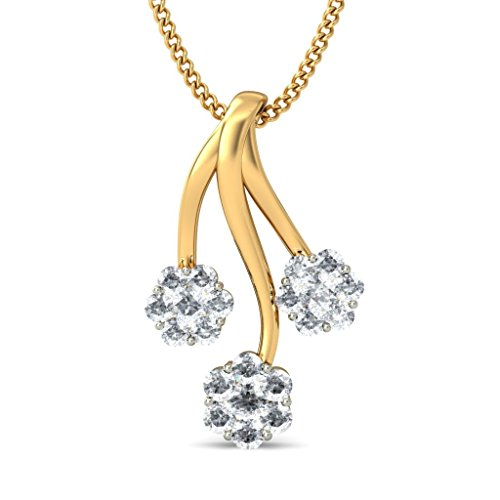 Or jaune 18 K 0,55 CT TW Round-cut-diamond (IJ | SI) Pendentif