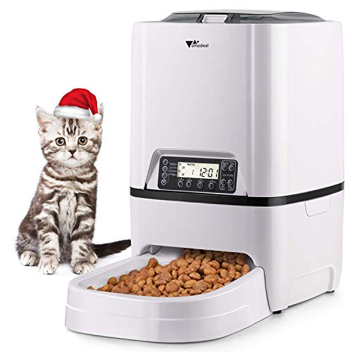 - amzdeal Automatic Cat Feeder - 6L Pet Feeder Dog Food Dispenser with Time and Meal Size Programmable, LCD Display and Meal Call Recorder Up to 4 Meals A Day