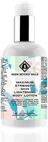 ASDM Beverly Hills Natural Maximum Strength Skin Lightening Body Lotion - Anti-Aging with Kojic Acid, Alpha Arbutin, Glycolic Acid, and Lactic Acid – For All Skin Type-8 Ounce 240 ML