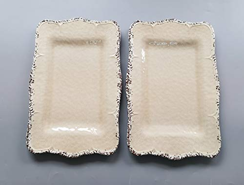 Gourmet Art Crackle Set of 2 Melamine Rectangular Serving Trays/Platters Cream 17