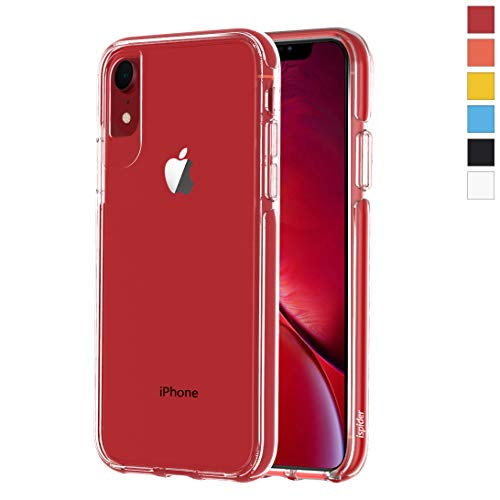 Ispider Crystal Clear Case Designed for iPhone XR, [3-Meter Anti-Fall] Premium Protective, Slim Case for Apple iPhone XR, [Hard PC Back and Dual-Layer Reinforced TPU Bumper Frame] - Red
