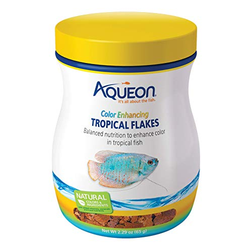Aqueon Tropical Color Enhancing Flakes Fish Food, 2.29-Ounce ()