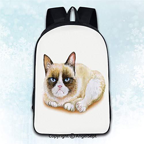 Elegant Rucksack with Two Carrying Ways,Animal Grumpy Siamese Cat Angry Paws Asian Kitten Moody Feline Fluffy Love Art Print Brown and Beige 16 inches,Anti-Theft Knapsack ()