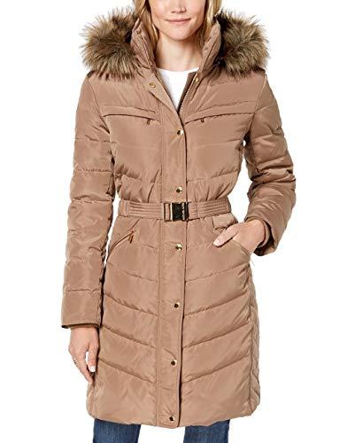 Michael Michael Kors Faux-Fur-Trim Belted Hooded Puffer Down Coat Beige (XXS)
