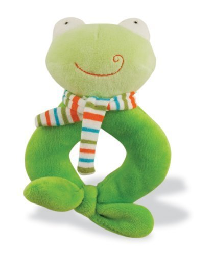 Rich Frog Happy Ring Rattle Frog, Soft Plush Baby Toy, Green - 6