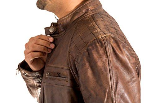 Leather Vintage gant l Retro Marr Zipp s Racing Chaqueta Serr e Body Matelass CIUXxqIw