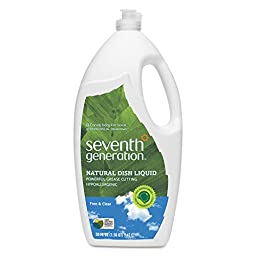 Seventh Generation SEV 22724 Natural Dishwashing Liquid, Jumbo 50 oz. Bottle, Free and Clear (Pack of 6)