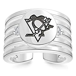 Bixler Pittsburgh Penguins Penguins Logo Engraved Multiband Cuff Ring