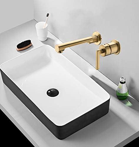 浴室のシンクの蛇口温水と冷水の真鍮壁に取り付けられた浴室のシンクミキサータップクリエイティブシングルハンドル2穴の洗面器の蛇口ホテル、ヴィラ,黒