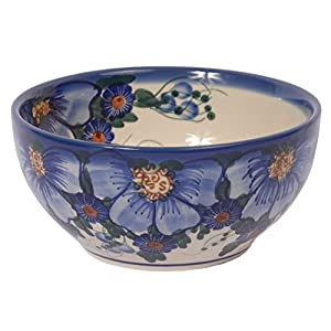 Traditional Polish Pottery, Handcrafted Ceramic Salad or Cereal Bowl, Boleslawiec Style Pattern, M.702.Passion