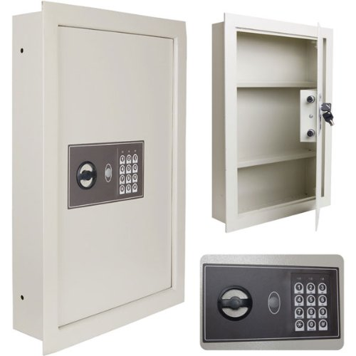 """Creamy White 16""""x4""""x22"""" Home Office Security Electronic Digital Wall Safe AA Battery Operated w/ 2 Keys Panel Flat LED Light Buzz for Gun Cash Jewelry Docs Valuable Storage Protection Hidden Cabinet"""