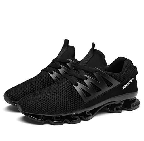 WSK Men's sneakers mesh breathable cushioning casual shoes running men's shoes increase size 39-47, black, 40