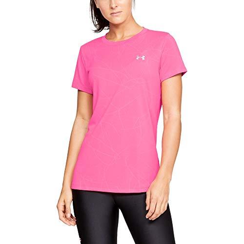 Under Armour Women's Tech Short Sleeve Defense Jacquard T-Shirt, Mojo Pink (641)/Metallic Silver, ()