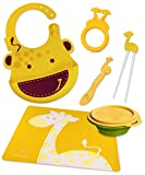 Marcus & Marcus Lola the Giraffe Silicone Baby Bib, Collapsible Bowl, Feeding Spoon, Chopsticks, Teether & Placemat