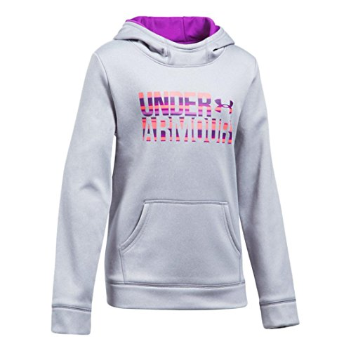 Under Armour Girls Armour Fleece Wordmark Hoodie, Grey/Blue, X-Small / 7 Big Kids by Under Armour (Image #1)