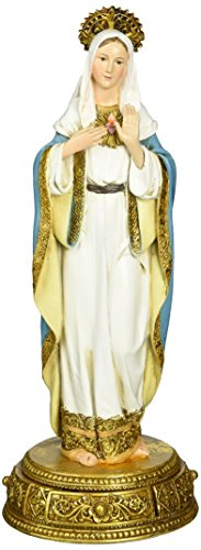 Heavenly Protectors Joseph s Studio by Roman Exclusive Immaculate Heart of Mary Figurine on Gold Base with a Drawer That Contains a Prayer to The Saint, 10.25-Inch