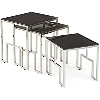 Halt Decor Cortona Glass & Polished Nickel Nesting Tables Set, 3 Count | 20513