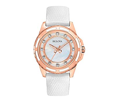 Bulova Diamond Collection Stainless Steel Rose-Gold Ion-Plated Women's Watch