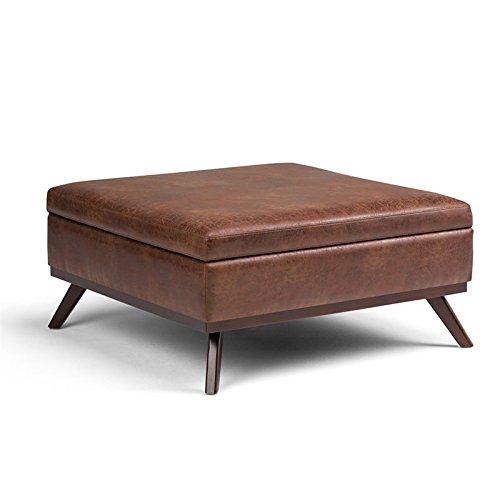 Simpli Home AXCOT267L-DSB Owen 38 inch Wide Mid Century Modern Square Storage Ottoman in Distressed Saddle Brown Faux Air Leather