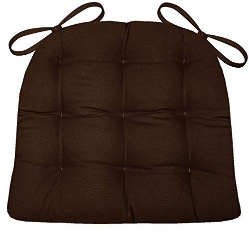Dining Chair Pad with Ties - Brown Cotton Duck Solid Color - Extra-Large Size XL - Reversible, Latex Foam Fill