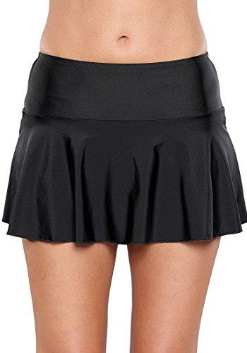 Mini Ruffled Bikini (GRAPENT Women's Black Skirted Bikini Bottom Waistband Ruffled Swim Skirt Solid Swimsuit M(US 6-8))