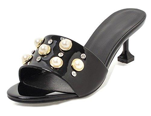Maison Talon Mules Mode Amie Aisun Ouvert Noir Femme Bout Perles Moyen Petite gxnTaZ