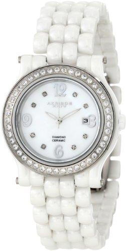 Akribos XXIV Women's AK504WT Ceramic with Diamond Accents and Fully Ceramic Bracelet Watch